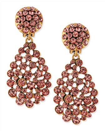 Bold Pear-Cut Cluster Drop Clip-On Earrings, Sorbet Pink