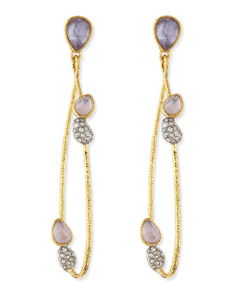 Elements Maldivian Rose-Cut Crystal & Vine Link Earrings