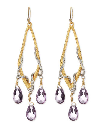 Pave Vine & Pink Amethyst Drop Earrings
