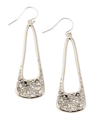 Miss Havisham Crystal-Encrusted Long Silvery Drop Earrings