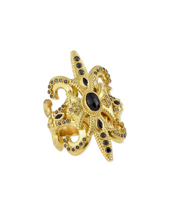 Sue??o Black Sapphire & 18k Gold Scroll Ring