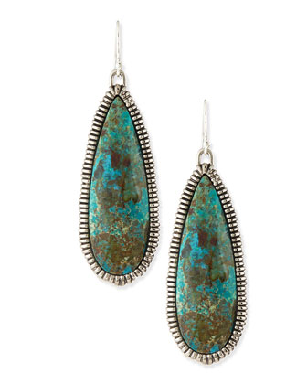 Elements Cholulian Blue Green Chrysocolla Teardrop Earrings