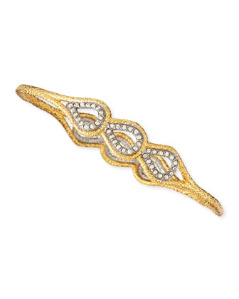 Skinny Pave Crystal Scalloped Aigrette Bangle