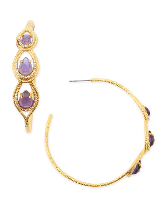 Elements Iolite-Colored Glass & Crystal Hoop Earrings