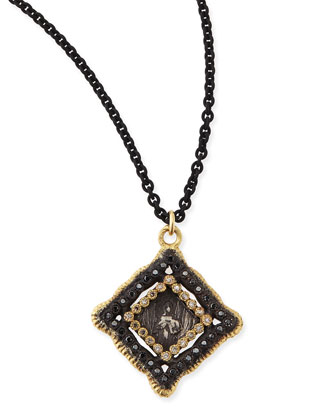 Midnight & Yellow Gold Coin Diamond Pendant Necklace
