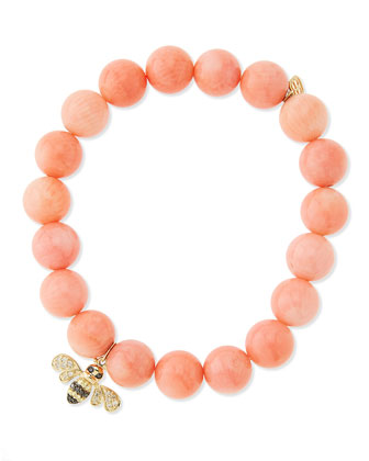 Peach Coral-Beaded Bee-Charm Bracelet
