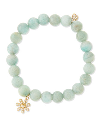 Russian Amazonite Beaded Bracelet with Diamond Daisy