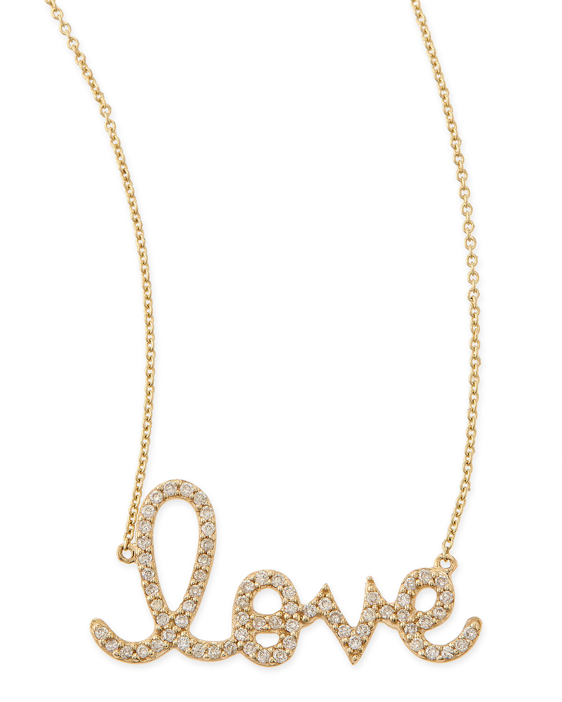 Large 14k Yellow Gold & Diamond Love Necklace   Sydney Evan   Yellow (14k ,