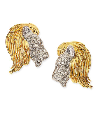 Maldivian Pave Crystal Lion Clip-On Earrings