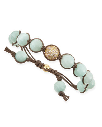 Mint-Colored Agate Beaded Bracelet with Pave Golden Bead