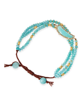 Multi-Strand Aqua-Colored Agate Bracelet