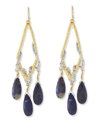 Maldivian Pave Vine & Lapis Drop Earrings
