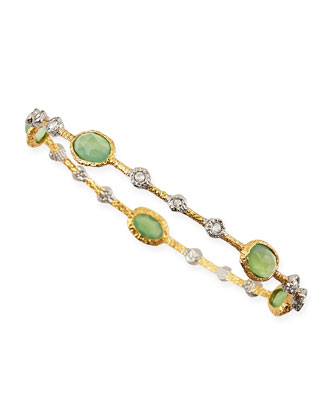 Elements Golden Lace Bangle with Green Chalcedony