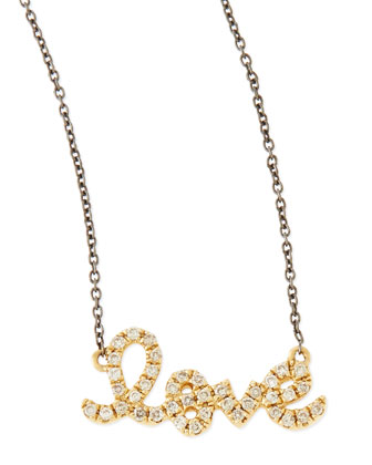 14k Gold Love Diamond Script Necklace