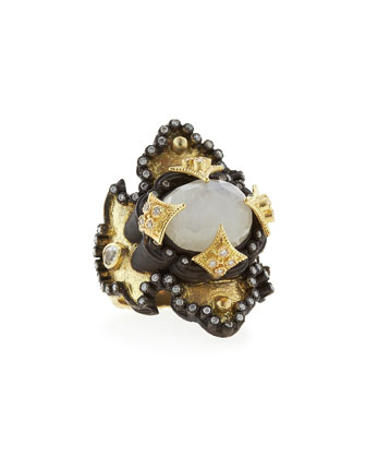 Midnight & Yellow Gold Moonstone Scroll Ring with Diamonds