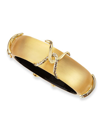 Kinshasa Pave Crystal X Liquid Lucite Bracelet, Golden