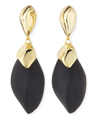 Kinshasa Liquid Metal-Capped Black Lucite Earrings