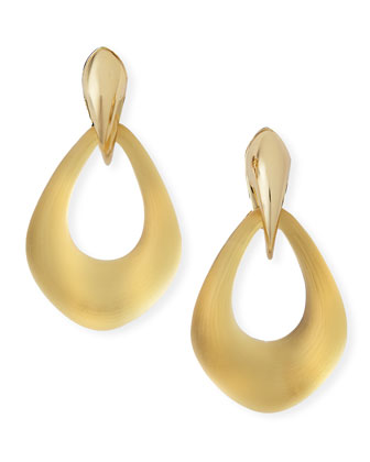 Kinshasa Claw-Capped Lucite Hoop Clip-On Earrings, Golden