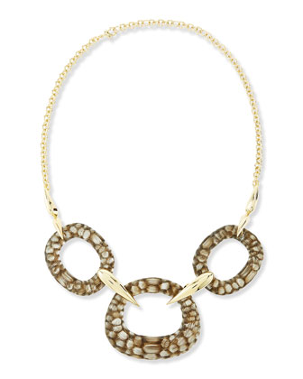 Kinshasa Crocodile-Embossed Linked Bib Necklace