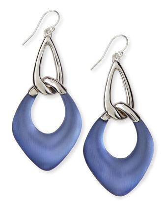 Sky Blue Liquid Metal & Lucite Drop Earrings