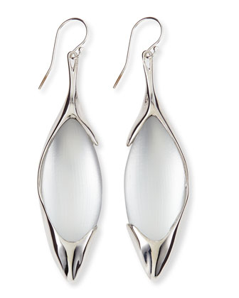 Liquid Metal & Lucite Drop Earrings, White