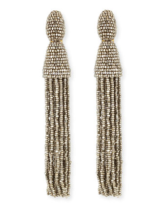 Long Beaded Tassel Earrings, Champagne