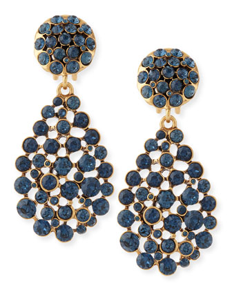 Bold Pear-Cut Cluster Drop Clip-On Earrings, Navy