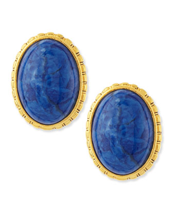 Oval Sodalite Button Clip-On Earrings