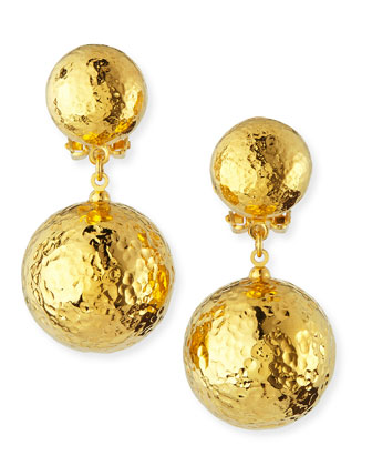 Hammered Gold Plated Drop Clip-On Earrings