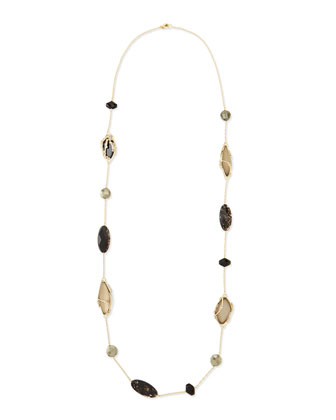 Crystal Lace Multi-Stone Station Necklace, 44