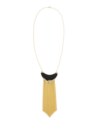 Imperial Black Lucite Golden Fringe Necklace