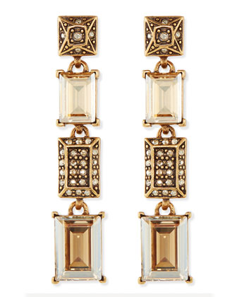 Crystal Golden Shadow Drop Earrings