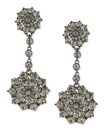 Gray Crystal Drop Clip-On Earrings