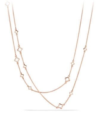Venetian Quatrefoil Link Chain Necklace with Diamonds in Rose Gold