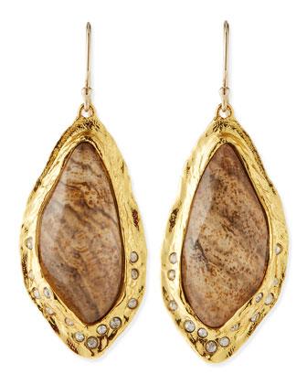 Jasper Drop Earrings with Crystals