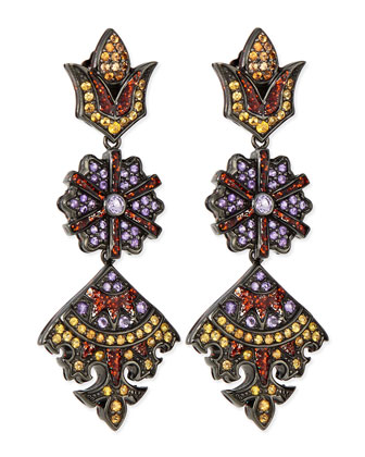 Long Flower/Kite Earrings with Enamel, Orange Sapphire and Amethyst