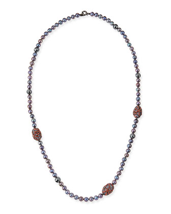 Long Black Pearl Necklace with Hematite, Enamel & Sapphire
