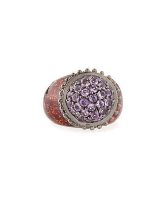 Small Flower Pot Ring with Enamel & Amethyst