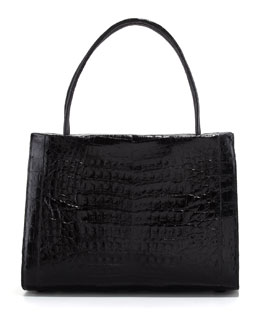 Nancy Gonzalez A-Frame Crocodile Medium Satchel Bag, Black
