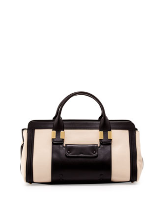 Alice Colorblock Satchel Bag, Husky White/Black