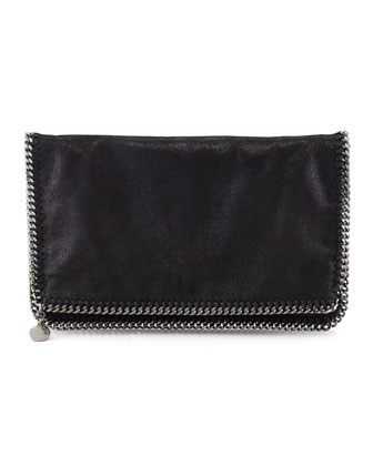 Faux Leather Falabella Fold-Over Clutch Bag, Black