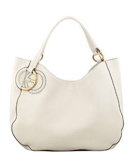 Gucci Twill Leather Large Shoulder Bag, Mystic White