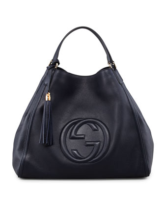 Large Soho A-Shape Hobo, Dark Navy