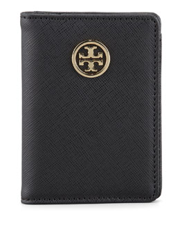 Tory Burch Robinson Passport Holder, Black/Turq
