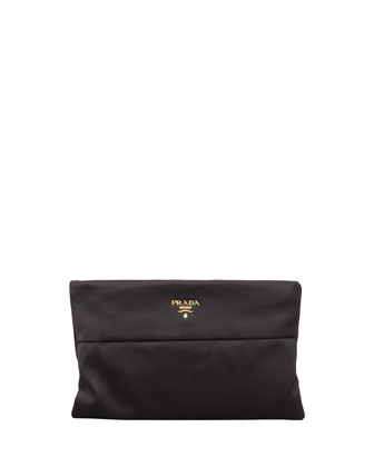 Raso Satin Clutch Bag, Nero