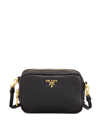 Mini Zip-Top Crossbody Bag, Black