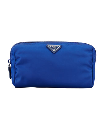 Medium Nylon Cosmetics Bag, Royal Blue