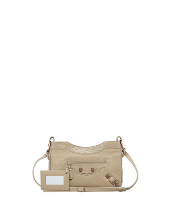 Giant 12 Rose Golden Hip Crossbody Bag, Latte