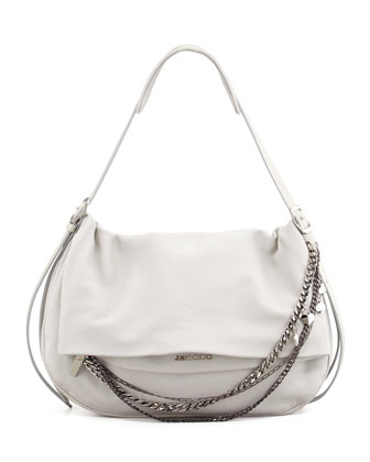 Biker Large Saddle Chain Shoulder Bag, Pearl Gray
