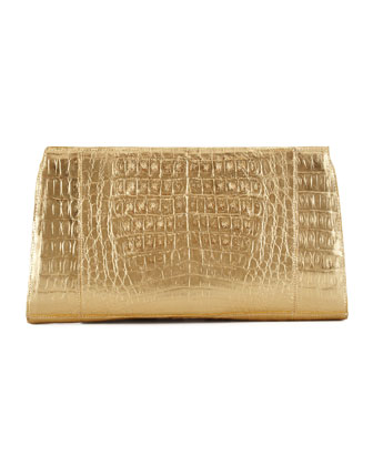 Crocodile Slicer Clutch Bag, Gold